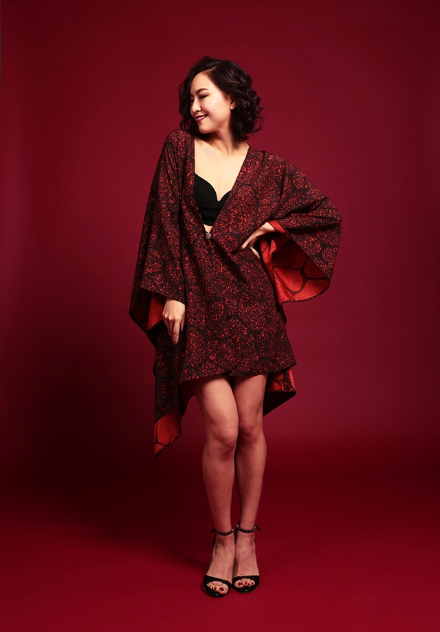 着物ポンチョ(Kimono poncho)Mottled
