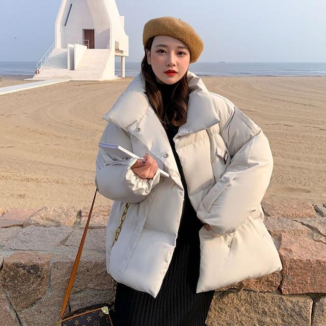 【アウター】絶対可愛い 人気を獲得♡ ファッション スウィート 無地 シングルブレスト 冬 スタンドネック 長袖 ダウンコート53683870
