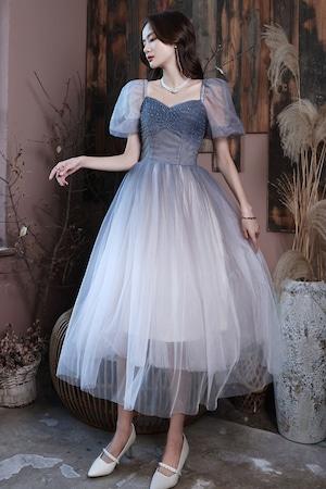 ブルー ロングドレス メッシュ パーティードレス TM0243