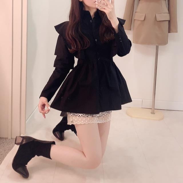 【10/22発売START】【即納】スタンドフリルチュニックドレス(Black)