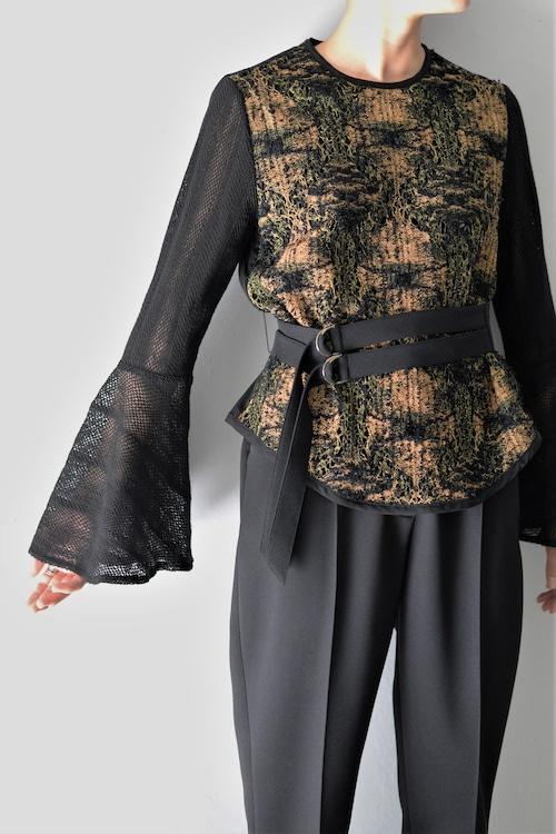 EBONY / Lace Belt Blouse (black)