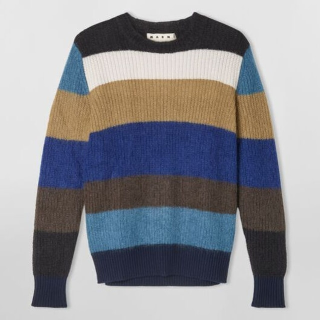 MARNI STRIPED MOHAIR AND WOOL CREWNECK KNIT