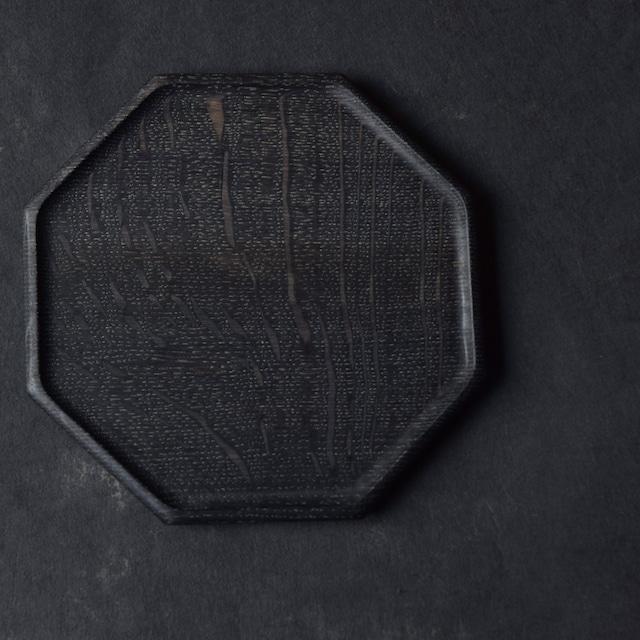 北山栄太 Eita Kitayama   楢オクトゴナルプレートS(ザクロ草木染+鉄媒染+ガラスコーティング)