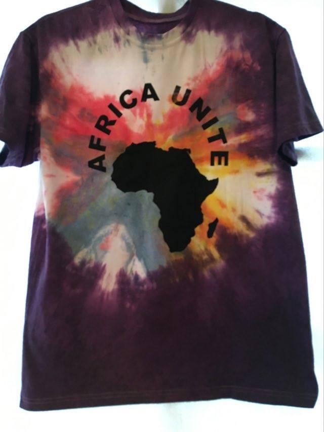 ガーナの手染めTシャツ【L】 AFRICA UNITE-⑦