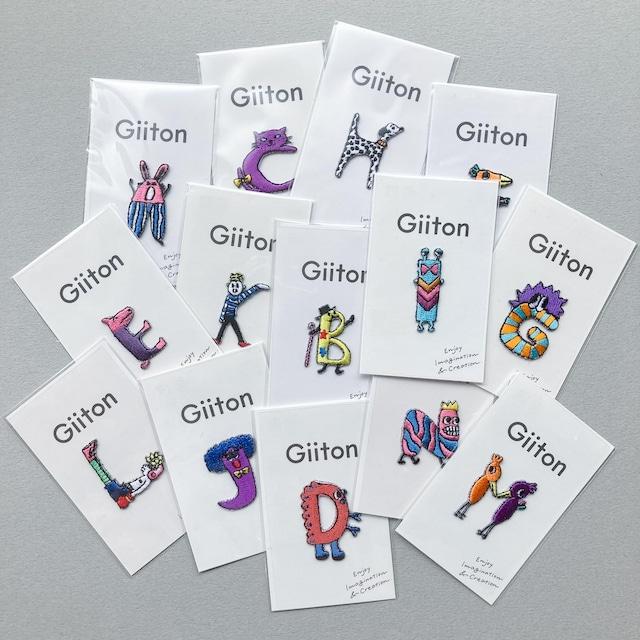 〈再入荷〉Giiton イニシャルワッペン(A〜N)