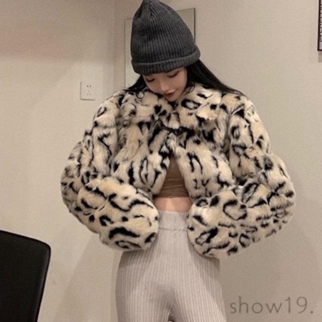 【アウター】秋冬新作追加 ファッション ヒョウ柄 ショート丈 ルーズ スエード コート52950313