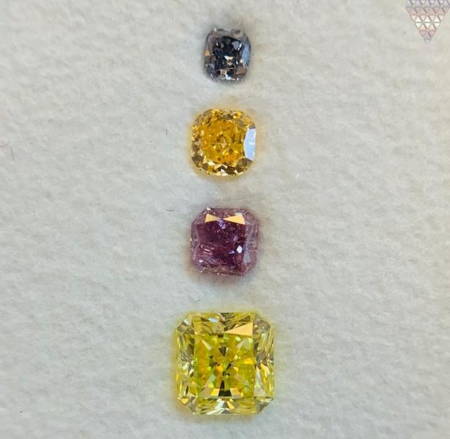 合計  0.84 ct 天然 カラー ダイヤモンド 4 ピース GIA  1 点 付 マルチスタイル / カラー FANCY DIAMOND 【DEF GIA MULTI】