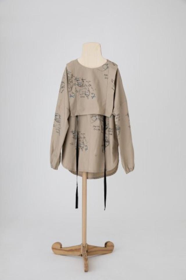 【21AW】folkmade(フォークメイド) map pattern shirt シャツ Beige (LL)
