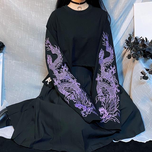 チャイナ風トップス ミニ丈Tシャツ パープルの龍刺繍入り ブラック 黒い フリーサイズ 合わせやすい