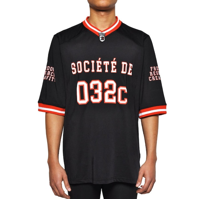 032c FOOTBALL JERSEY WITH PUFF PRINT BLACK