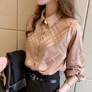 【M-4XL】サテンチェックシャツ