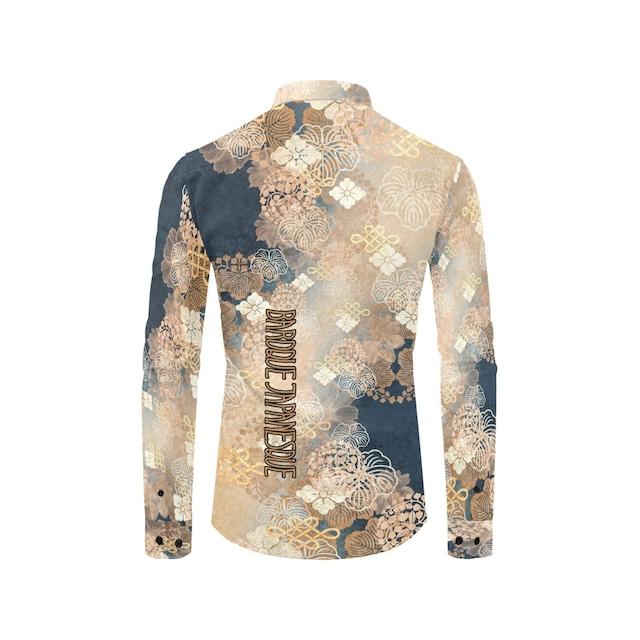 家紋装飾ブルーベージュ ユニセックスサイズ長袖シャツ