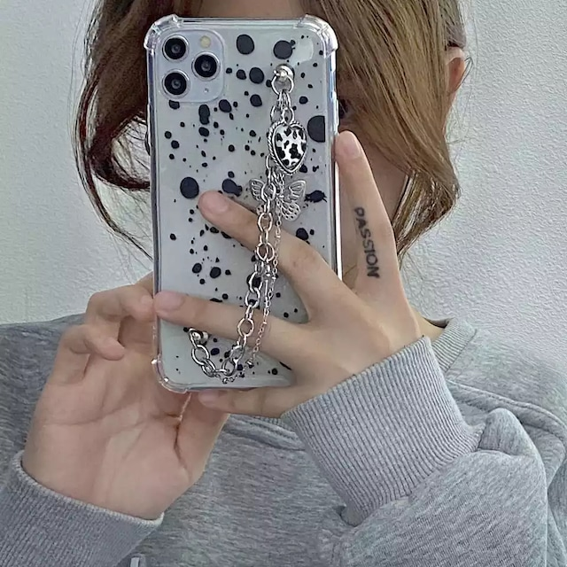 Black butterfly cow chain iphone case