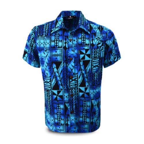 Aloha Shirt 2019 Tapa Blue【Size:L】