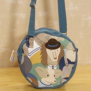 手作りバッグ/ワンコの丸型ショルダーバッグ (5-52)