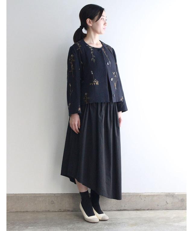ボタニカル刺繍ジャケット  (evi506  NVY・ネイビー)