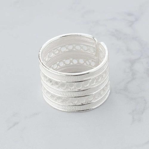 トリプルレール ワイド リング / 銀線細工