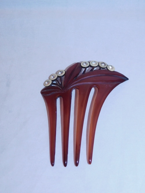 茶系の簪(プラスチック)plastic work ornamental hair pin
