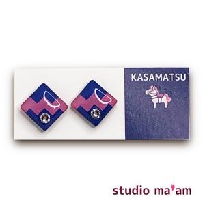 ■KASAMATSU-17 ピアス。しかく。〜イヤリング変更可〜