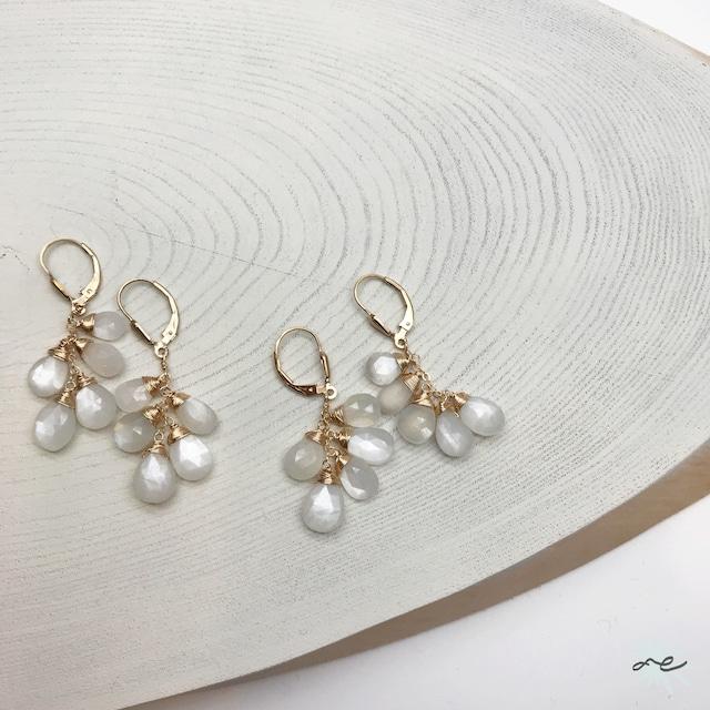 Moonstone Leverback Earrings/K14 gf