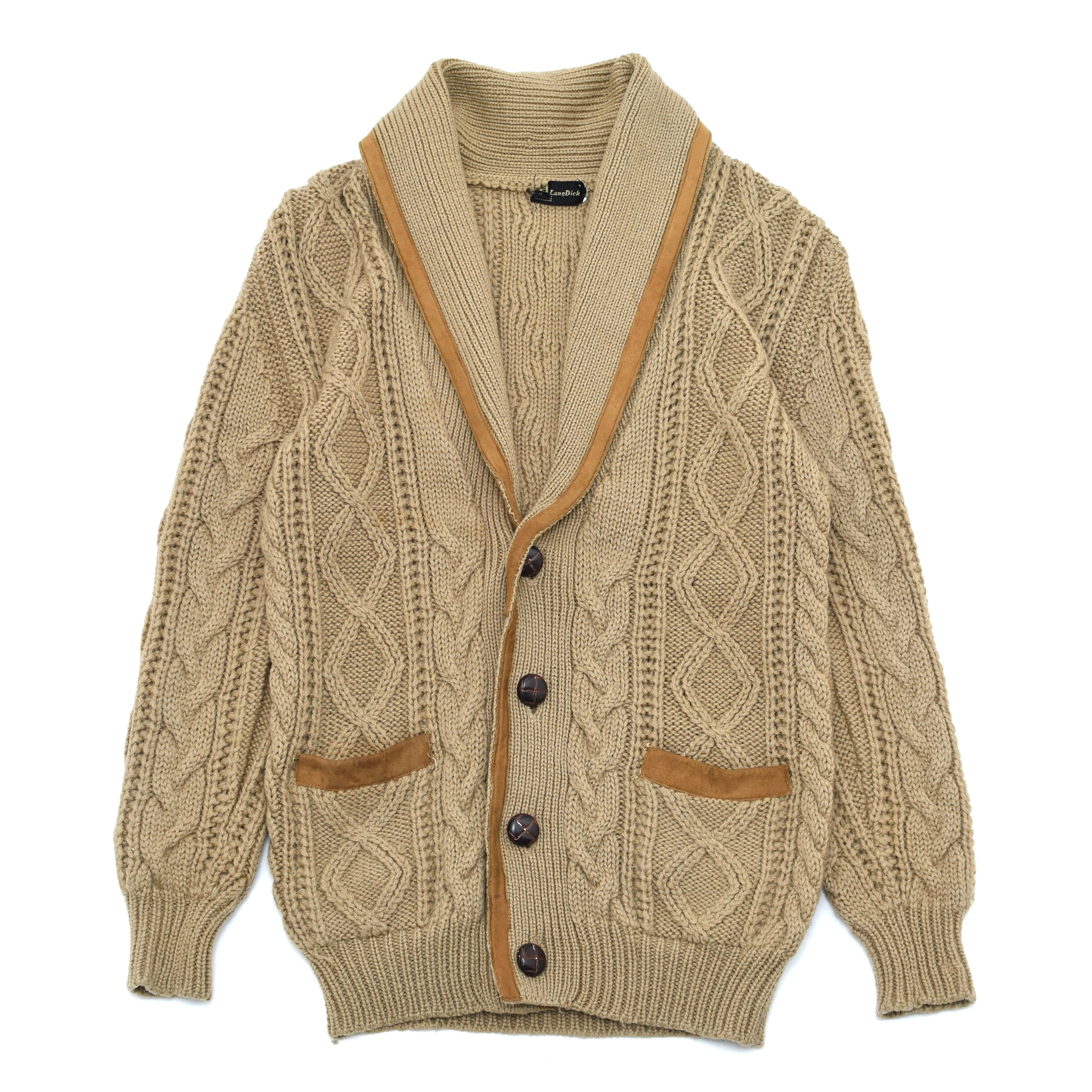 Shawl collar leather×cable knit cardigan