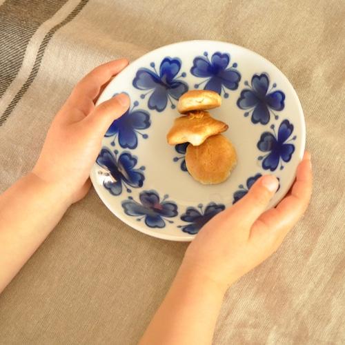ブルーの花柄プレート(S)  【SL-0114_MP】