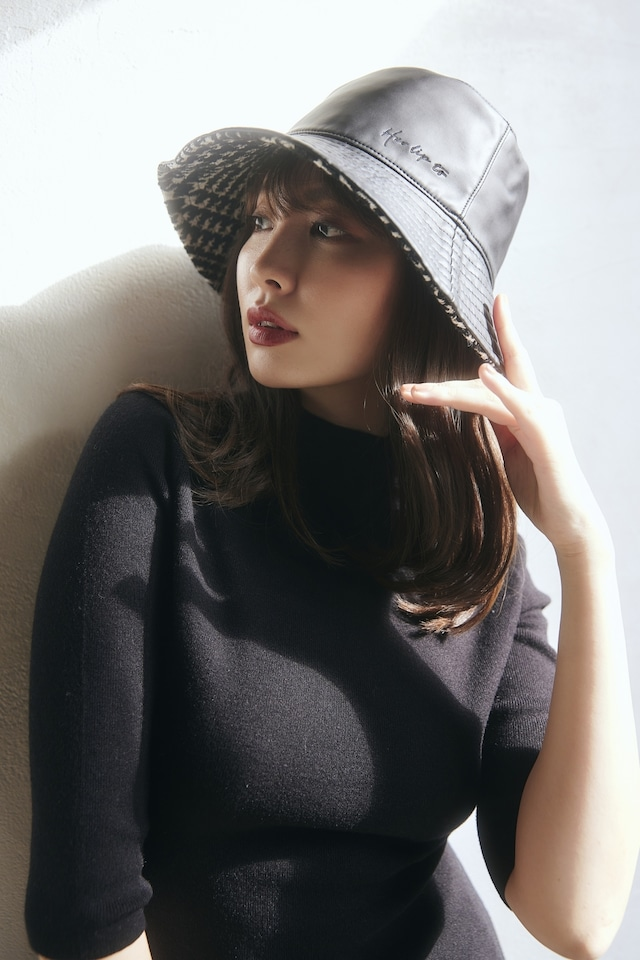 Reversible Vegan Leather Tweed Bucket Hat