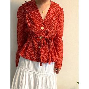 【送料無料】70's vintageRed and white puffy sleeve front buttoned blouse jacket