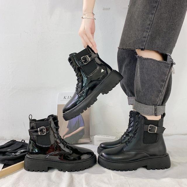 【シューズ】ベルトファッションカジュアル無地レディースブーツ33813172