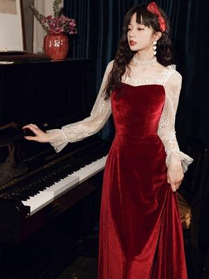 イブニングドレス 赤 レッド レース長袖 秋冬 ベロア カラードレス ロングドレス 結婚式二次会 発表会 披露宴 演奏会 大きいサイズ  小さいサイズ 8022