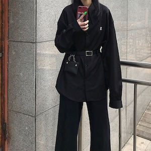 【トップス】無地シングルブレスト長袖シャツ43011824