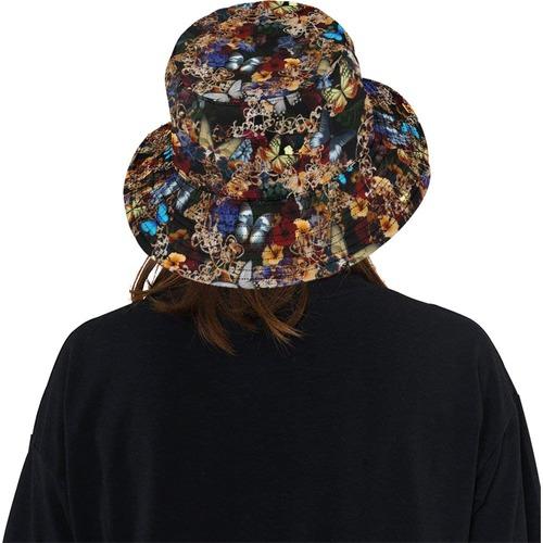 華と蝶 Black Bucket Hat バケットハット
