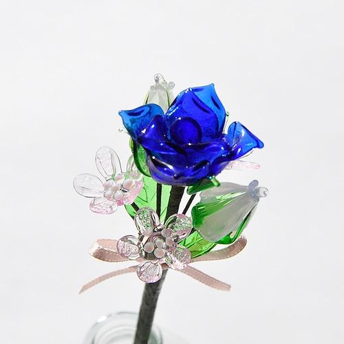 グラスフラワー プチブーケ(青いバラと白い蕾【2】)