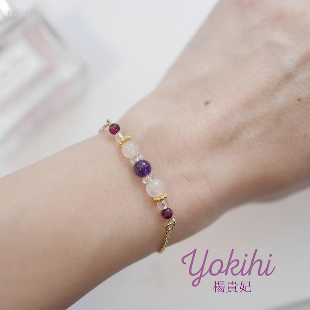 世界三大美女ブレス【Yokihi】恋愛成就♡アメジスト・ローズクォーツ・ピンクタイガーアイ