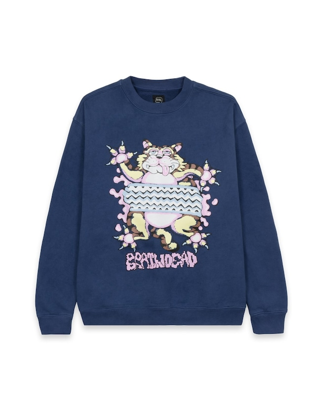BRAIN DEAD RELAXED CAT CREWNECK - WASHED NAVY