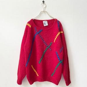 80年代 ハンドニット デザイン ニットセーター アメリカ古着 日本L〜LL
