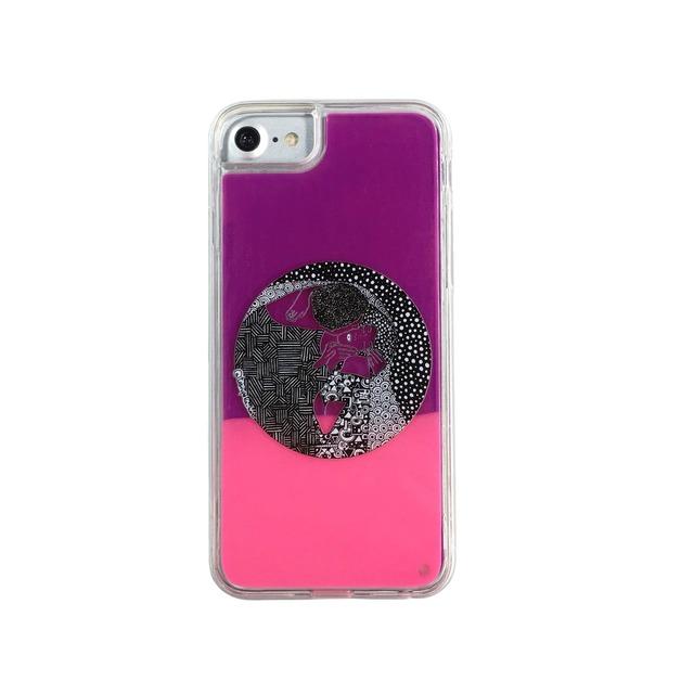 ARTiFY iPhone SE(第2世代)/6/6s/7/8 ネオンサンドケース クリムト キス 円形 ピンク/レッド AJ00493