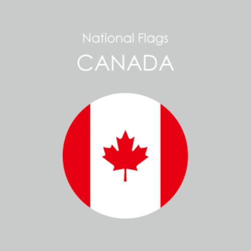 円形国旗ステッカー「カナダ」