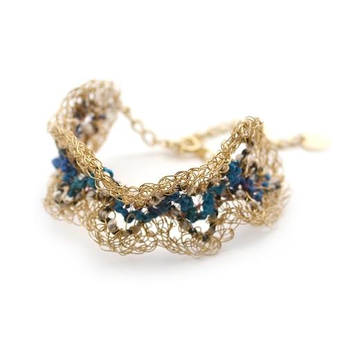 【SALE 20%off】miyua ワイヤーニットカラーブレス[ブルー]
