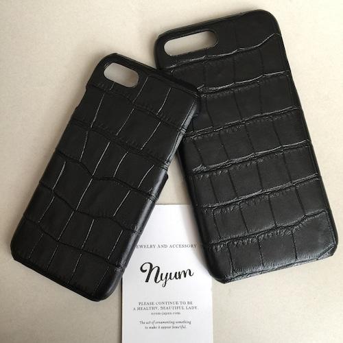【iphone7plus/8plusカバー】合皮ブラック型押しクロコマットiphoneケース フェイクレザー