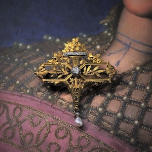 French Gold , Diamond & Pearl Brooch