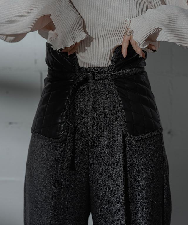 QUILT BELT TWEED PANTS  (BLACK)