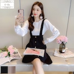 No.1591 韓国ワンピース きれいめワンピース 大人可愛いワンピース フレアワンピース フェミニンワンピース 2color