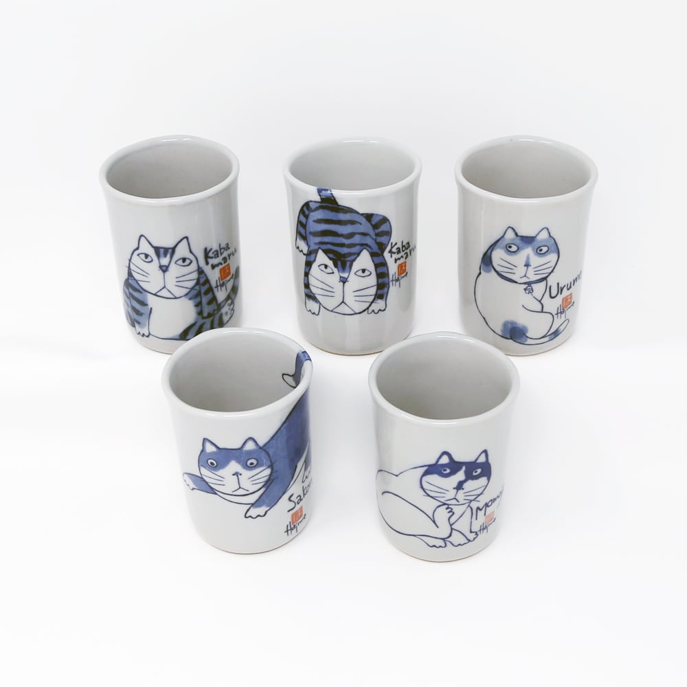猫湯呑み(やんちゃ猫湯のみ)5客セット