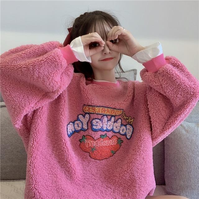 【トップス】長袖カートゥーンファッション裏起毛Tシャツ42906585