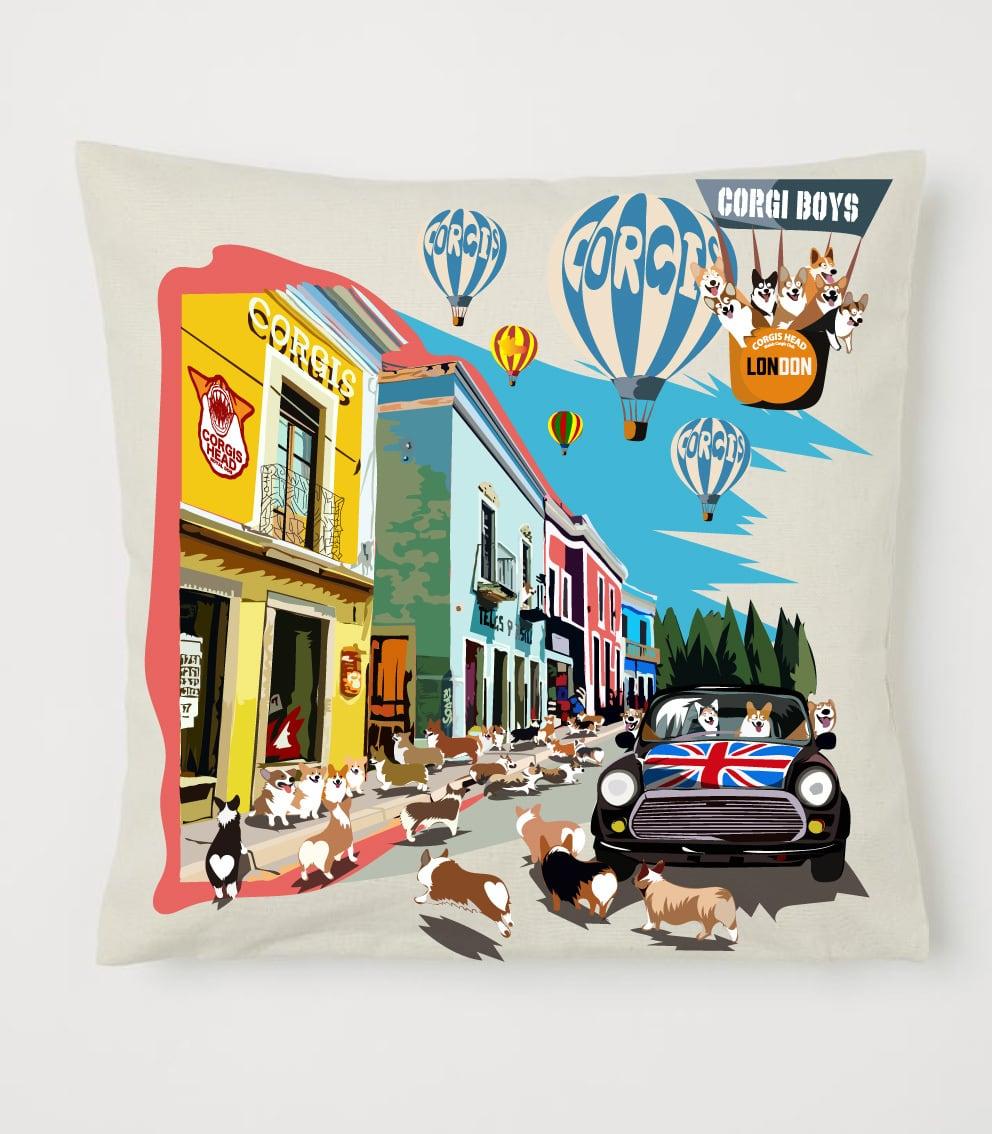 クッション コーギータウンデザイン No.cushion002 40×40 オーガニックコットンを使用のクッションカバー コットン 100%