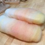 OGY24)再販 手紡ぎ毛糸用ブレンド羊毛 ピーチパフェ