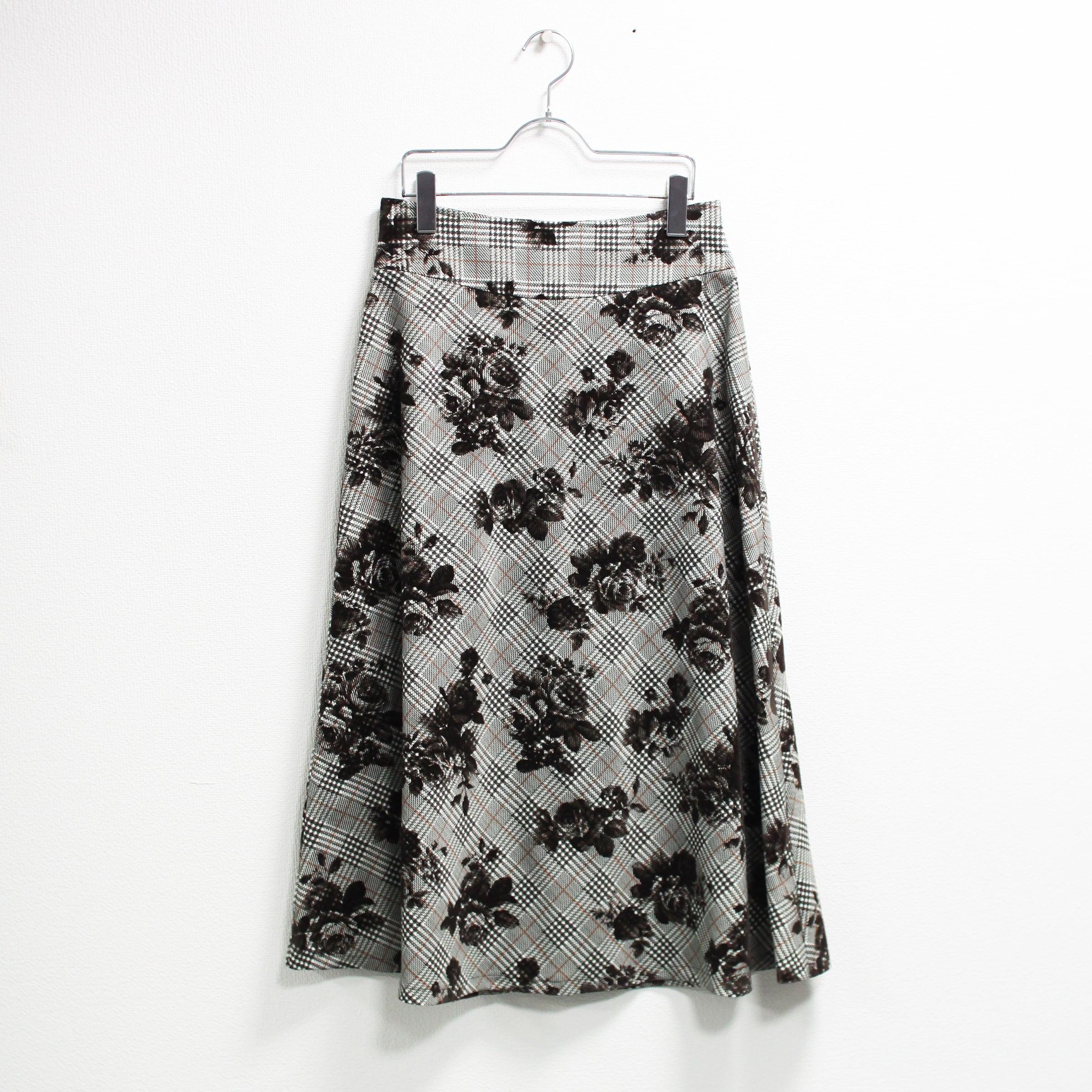 P/フロッキープリントフレアスカート