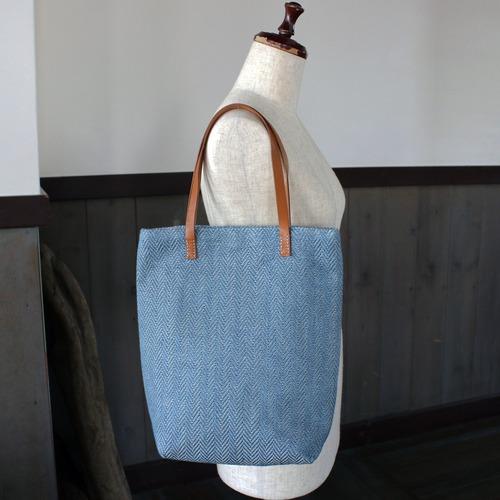 藍染リネン手織りトートバッグ(sb297)ヘリンボーン柄