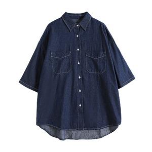 ショートスリーブデニムセットアップシャツ |デニム セットアップ シャツ 半袖
